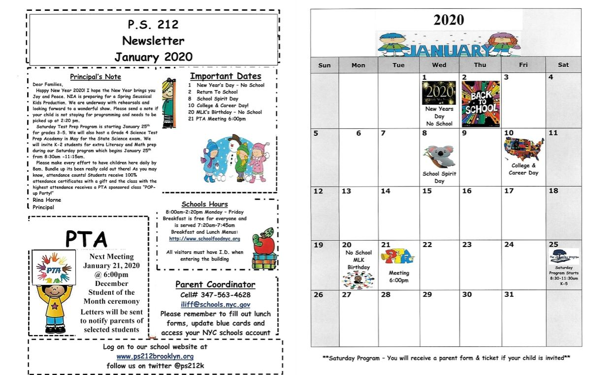 PS 212 January Newsletter