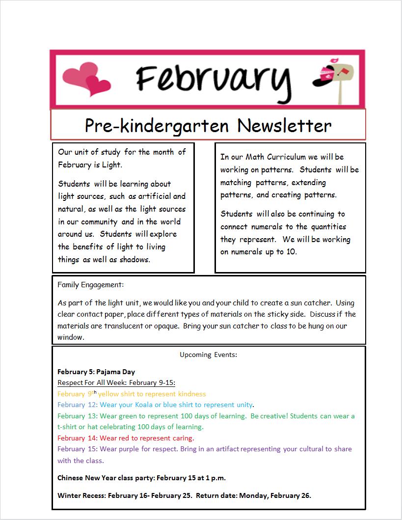 Pre-K Newsletter