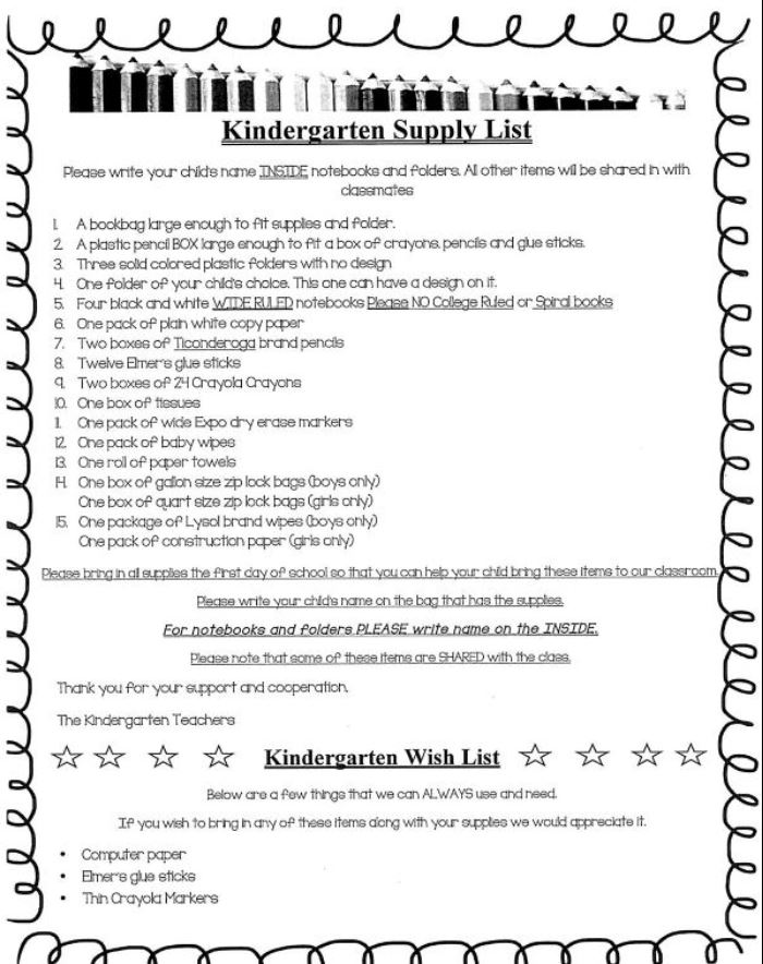Kindergarten Supply List
