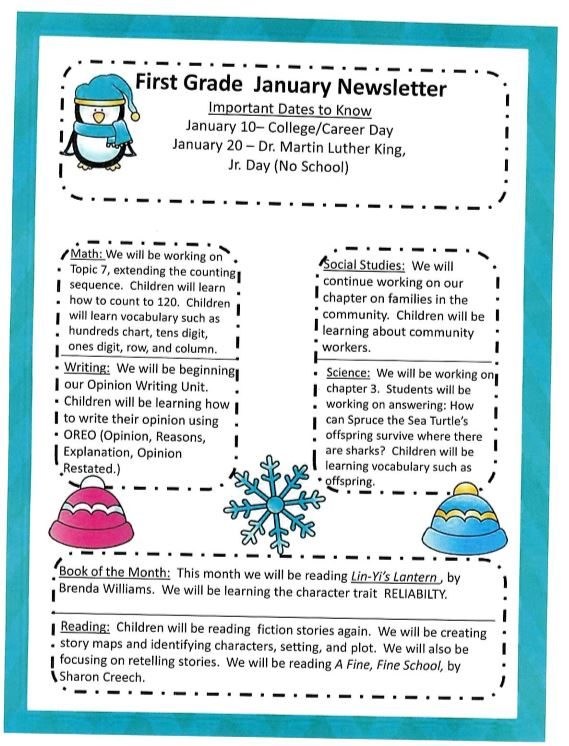 First Grade January News Letter