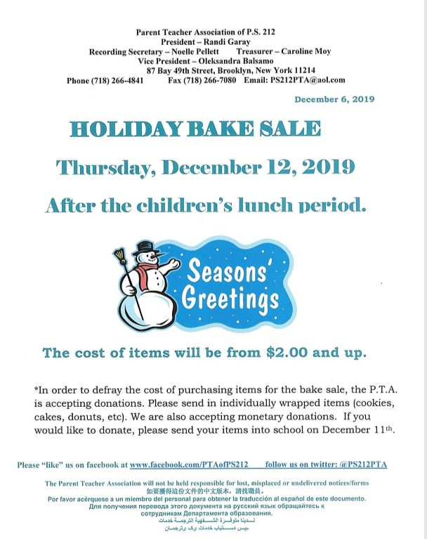 Holiday Bake Sale!   Thursday December 12, 2019 The Cost of the items will be $2.00 and up.