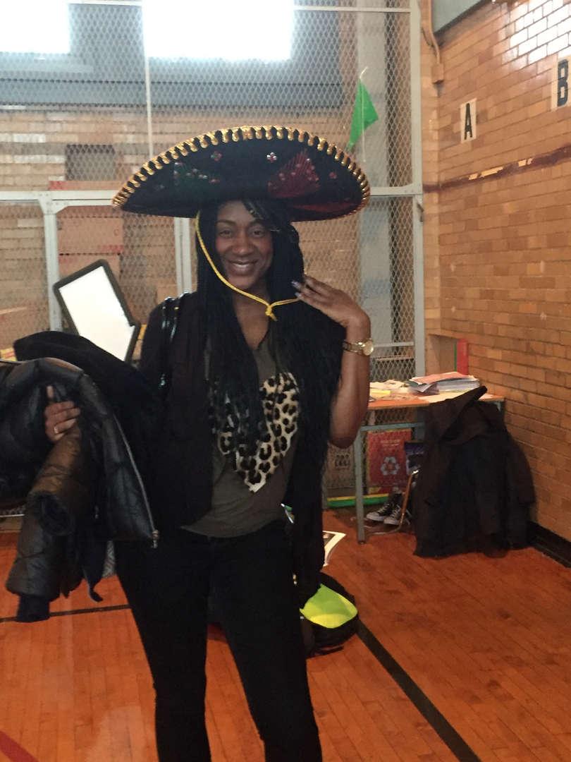 Teacher wearing costume