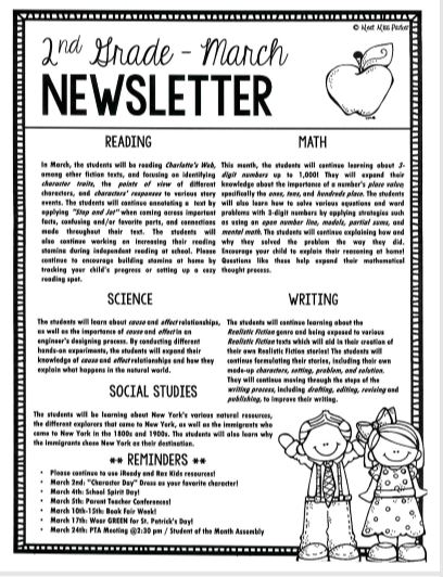 Second Grade March Newsletter