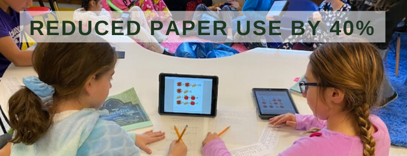 Children use iPads at the IMES library.