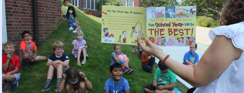 """Mrs. Buckley reads """"This School Year Will Be the Best"""" to her 2nd graders, opening up a conversation about their goals for the year."""