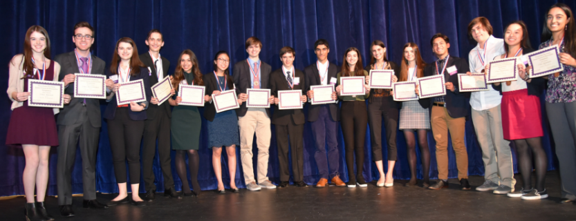 Amanda Huang and Will Hasapis are 6th and 7th from the left. Both placed third.