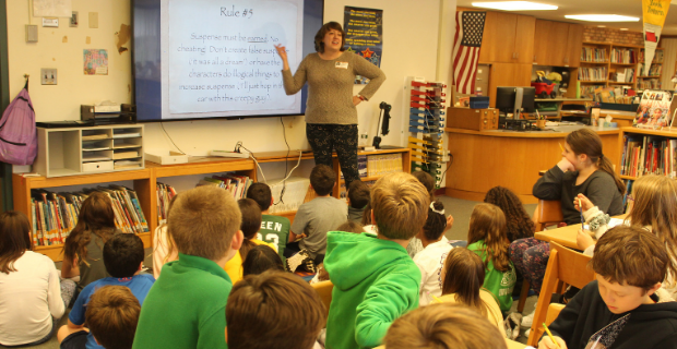 A visiting author uses technology to share her writing strategies.