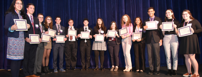 Mikaela Marcotullio, 5th from the right, and Heather Sherr, 6th from the right, will head to Upstate JSHS as speakers and compete for a spot to go to Nationals.