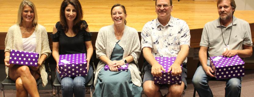 The following educators celebrated 25 years at KLSD! Left to right: Anna Loeb (JJMS), Sheryl Carini (KES), Kendra Collins (JJMS), Guy Amdur (JJMS), and Matthew Funnell (JJHS). Not shown: Sally Cruz (JJMS) & Beth Koles (Technology).