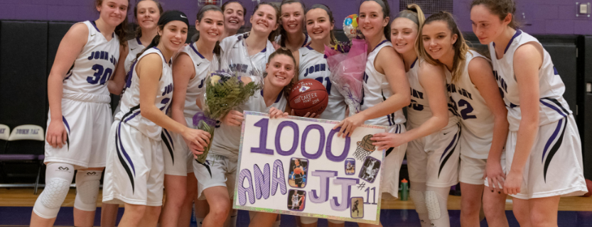 Ana Dorta scored her 1,000th point last night in the girls basketball victory over Horace Greeley! Congrats, Ana!