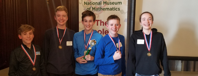 MathCounts teams placed first and third in the Westchester MoMathlon competition on March 7!