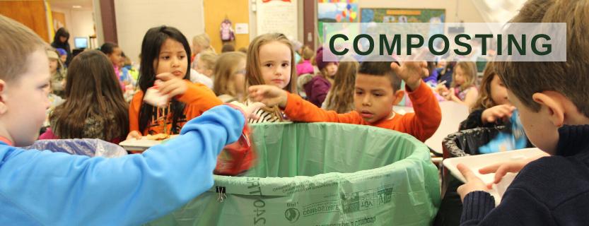 Children compost cafeteria waste.
