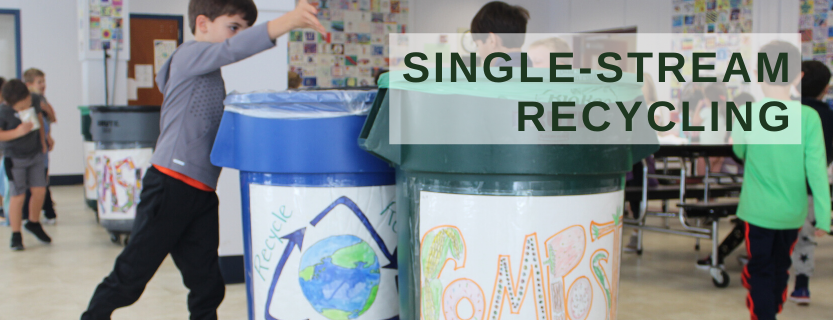 Children recycle in cafeterias.