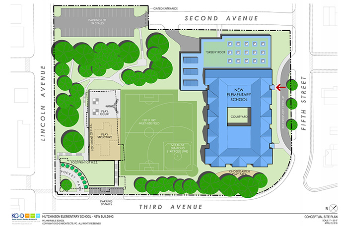 A draft site plan of the proposed new Hutchinson School shows the new building at the corner of Fifth St. and Third Ave. with the field behind the building. A parking lot would be constructed between Lincoln Avenue and the dead end of Second Avenue.