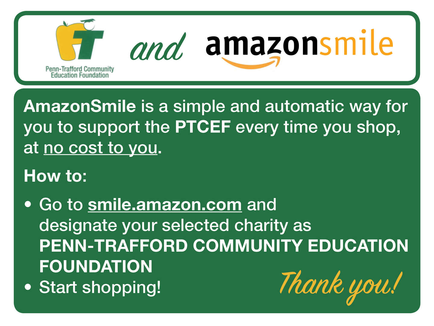 PT and Amazon Smile support PTCEF photo
