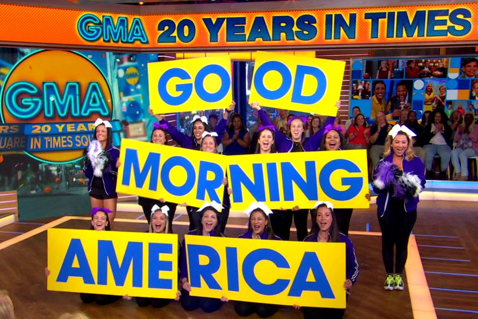Thirteen of New Rochelle High School's 1999 cheerleaders appear on Good Morning America