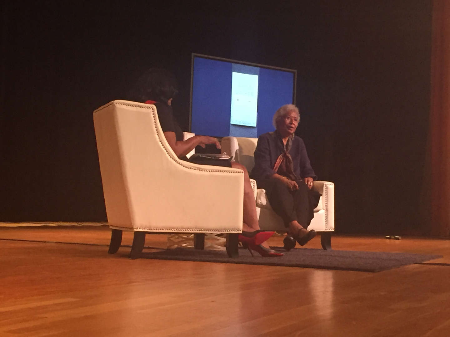 Author and activist Alice Walker on stage at New Rochelle High School.