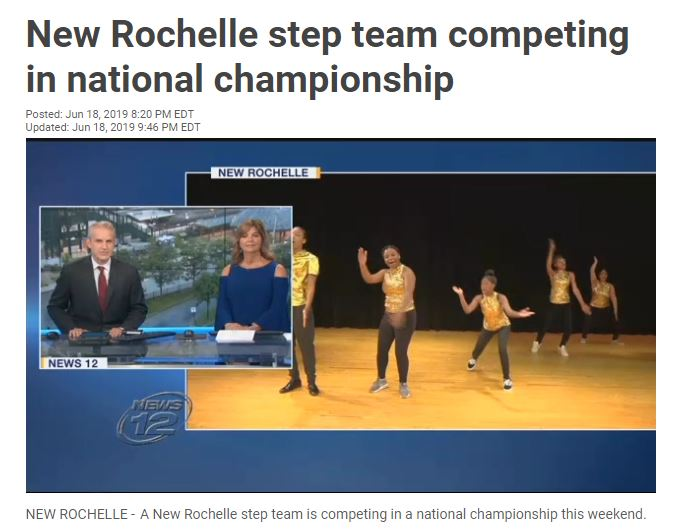 Screenshot of News 12's coverage of the Prestige Step Team