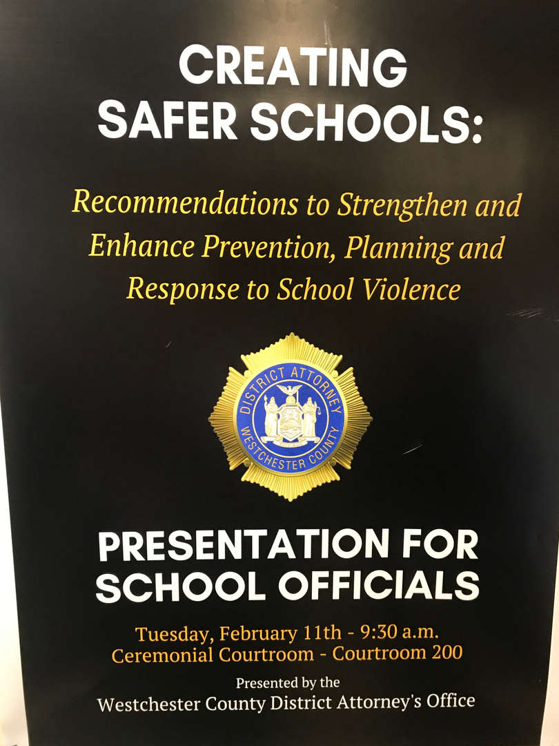Poster advertising DA's workshop on school safety