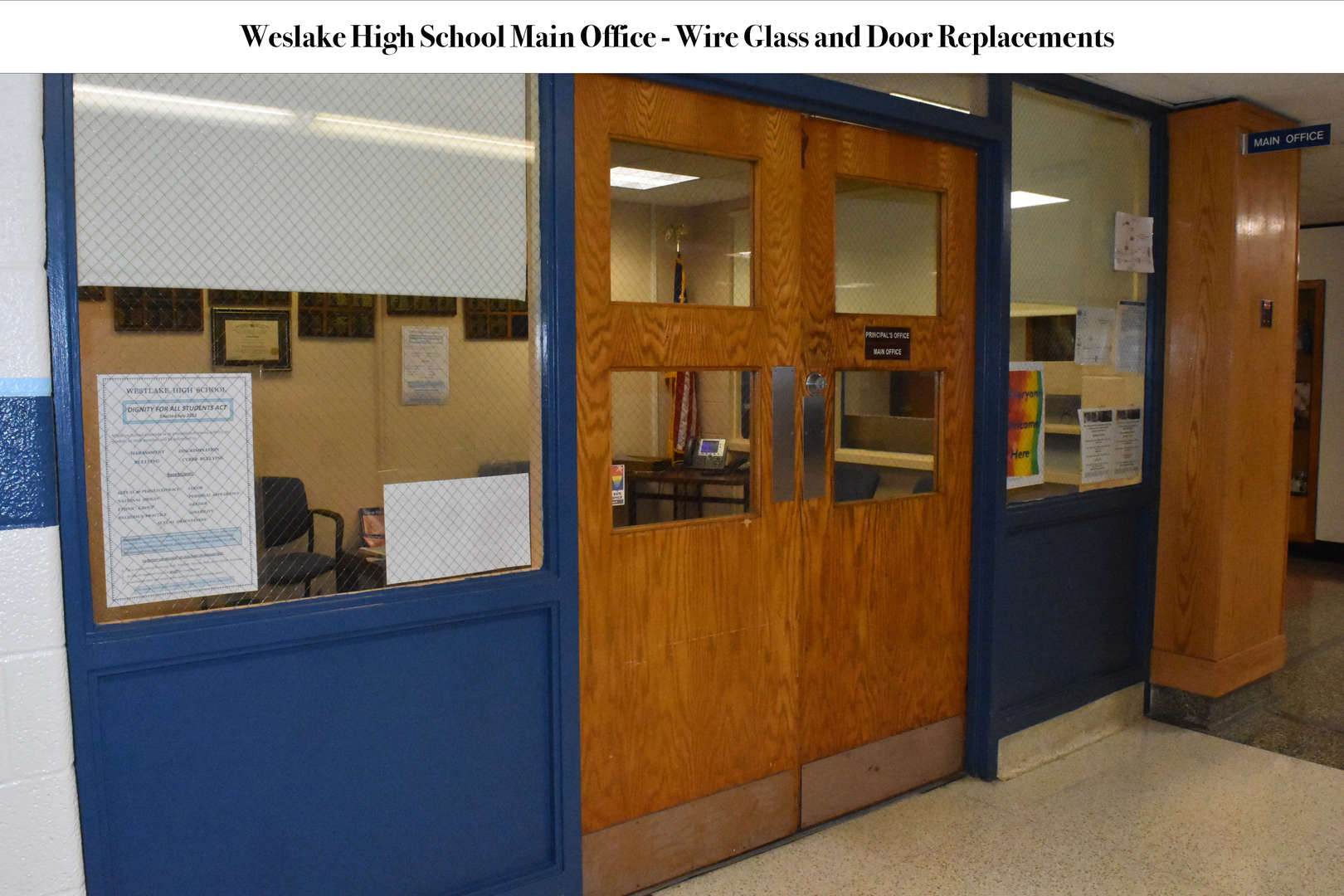 Double doors leading into WHS Main Office