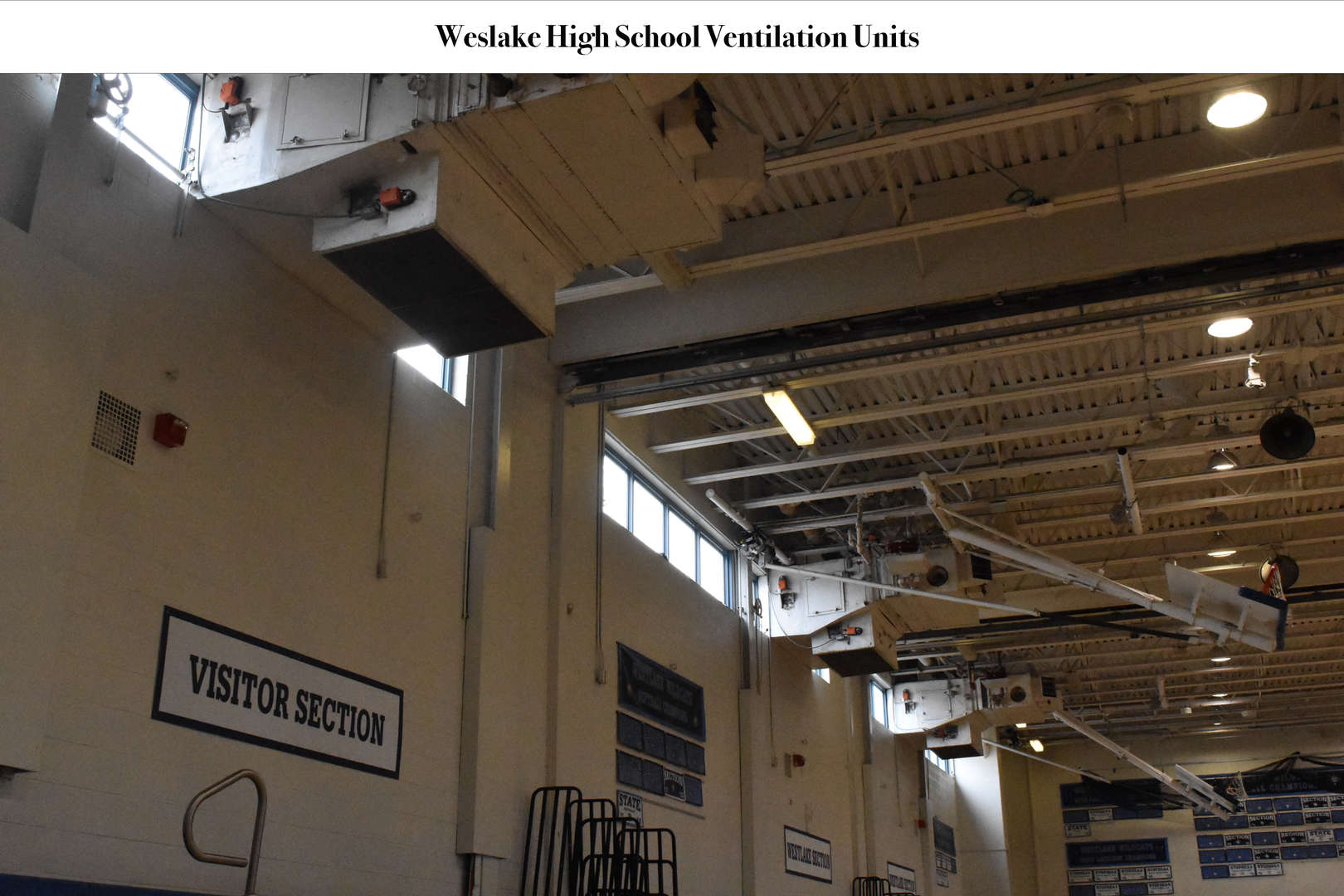 multiple ventilation units in on ceiling of gymnasium