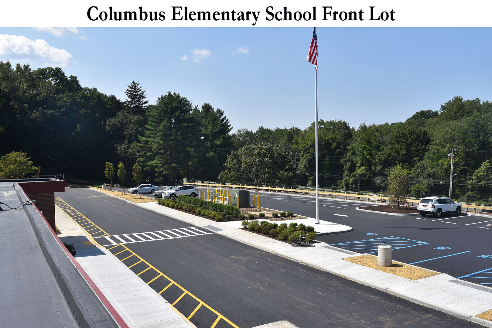 Newly paved front parking lot at Columbus Elementary