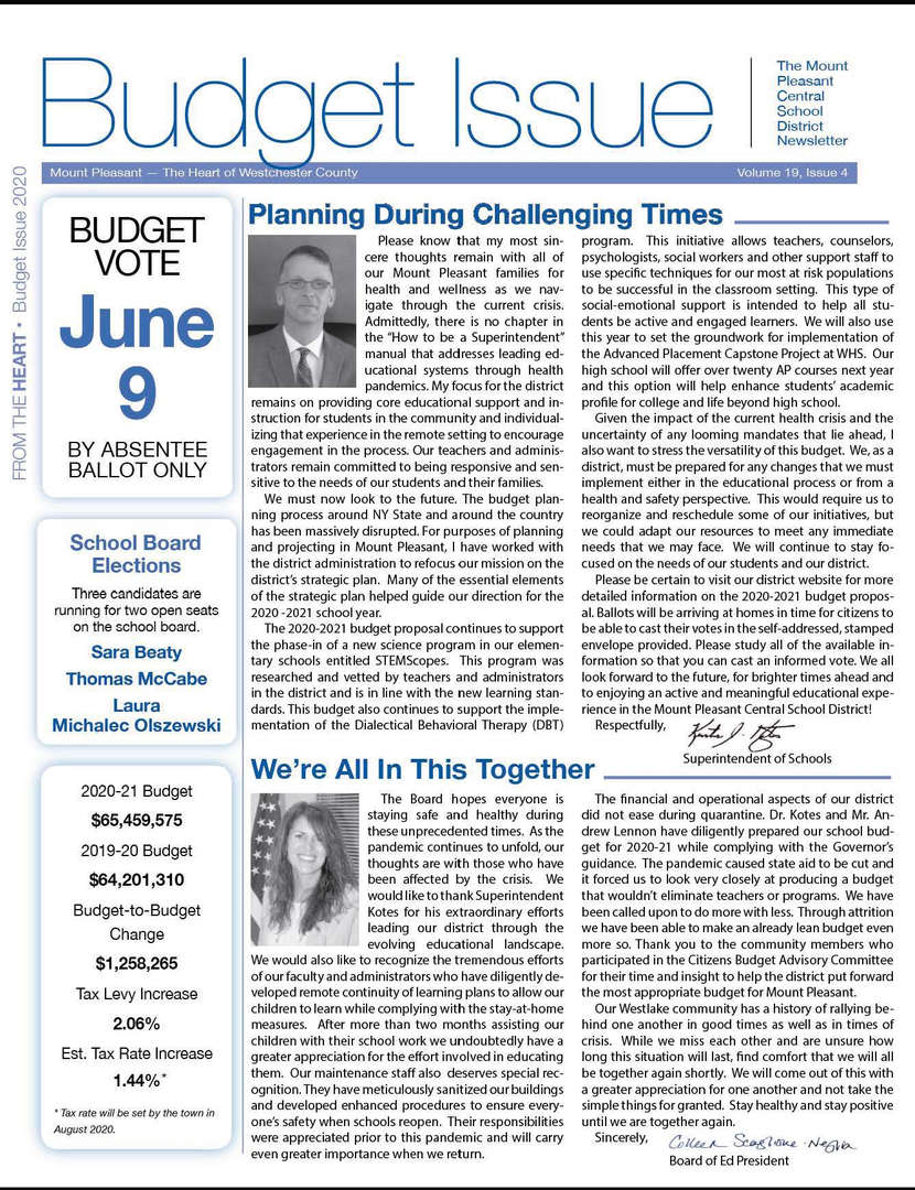 Front Cover of Budget Newsletter