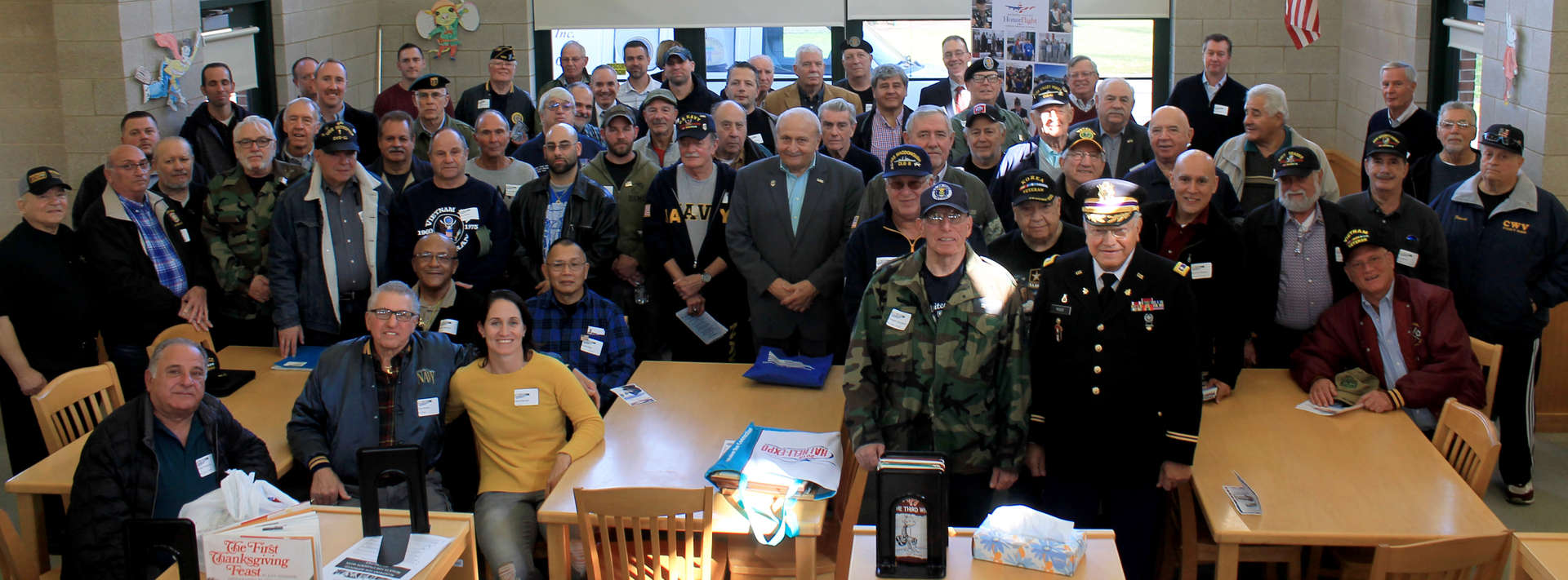 Large group of veterans gather in library