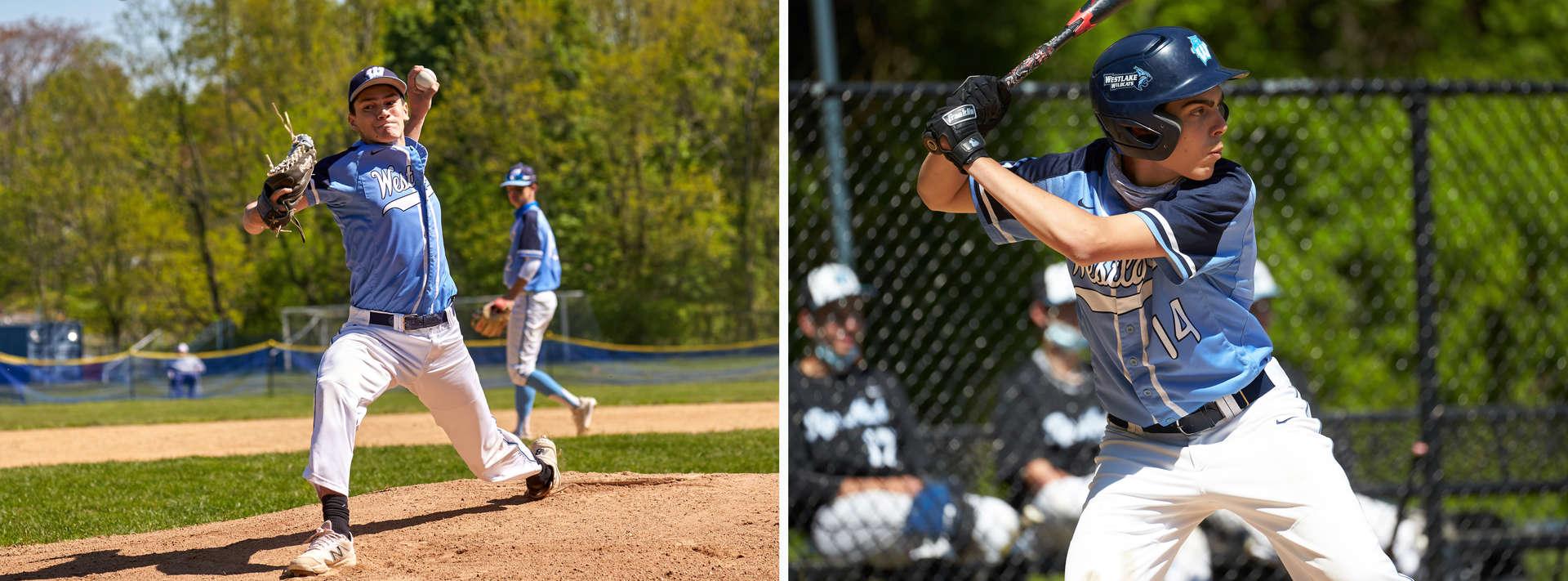 Baseball players batting and pitching