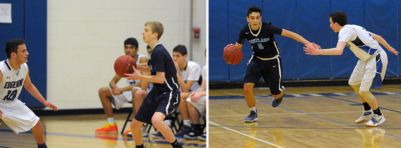 2 pictures of boys playing basketball