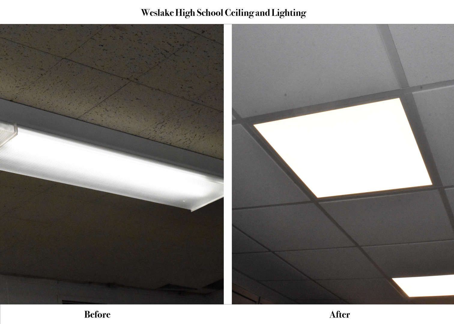 WHS Ceiling and Lighting before and after renovation