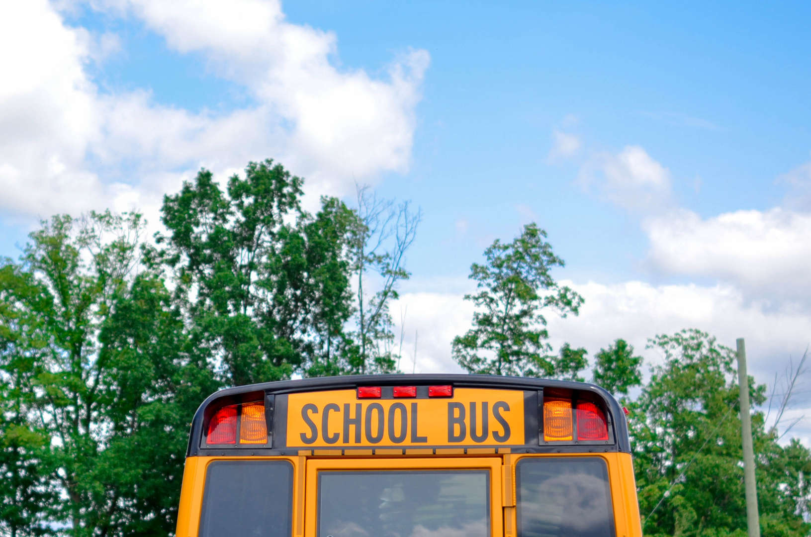 School bus with blue sky