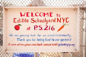 Welcome sign in front of School Garden