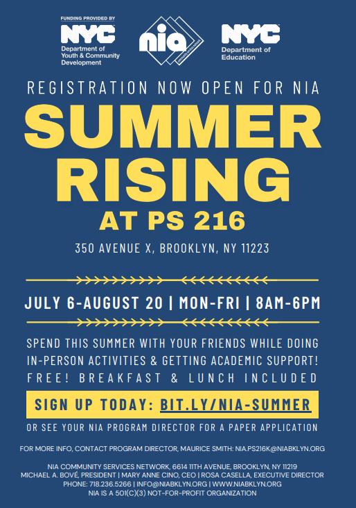 Information about Summer Rising Program