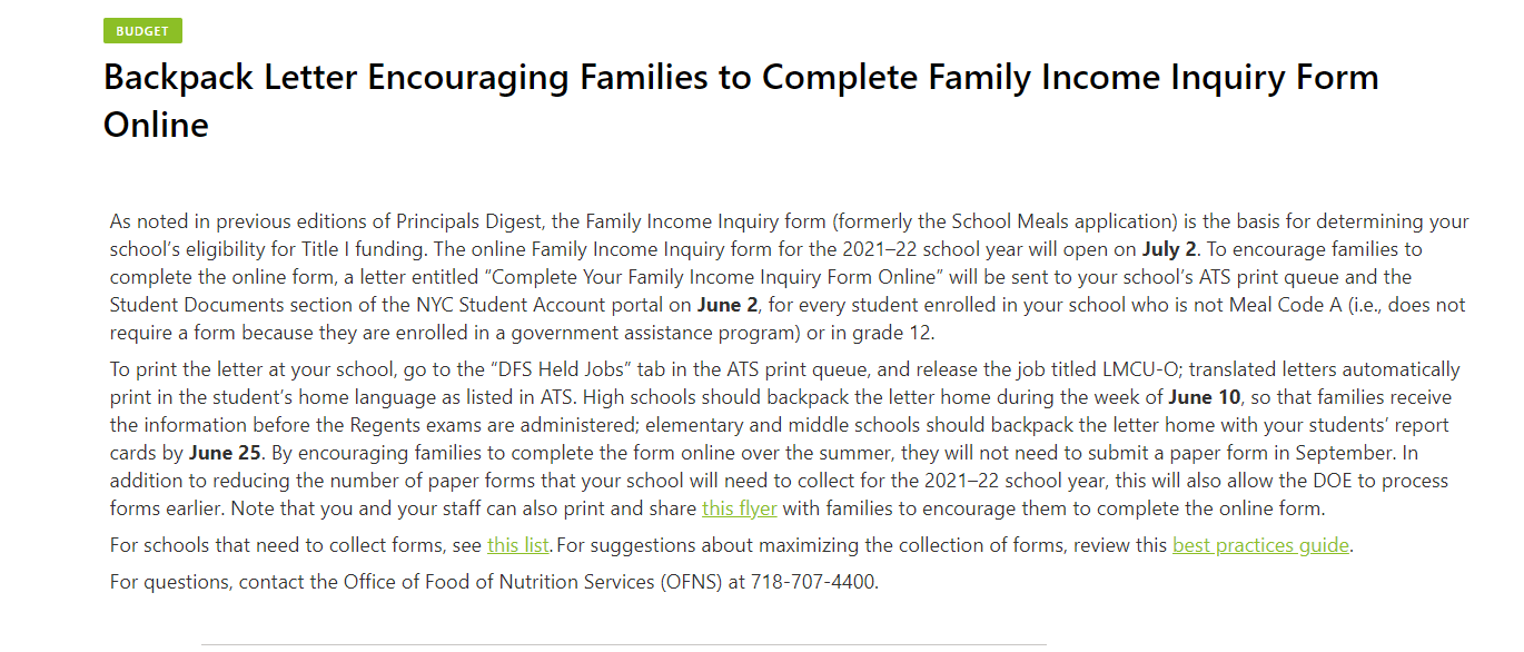 Letter asking families to complete Income Inquiry