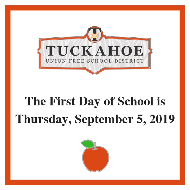 First day of school is Thursday, September 5, 2019
