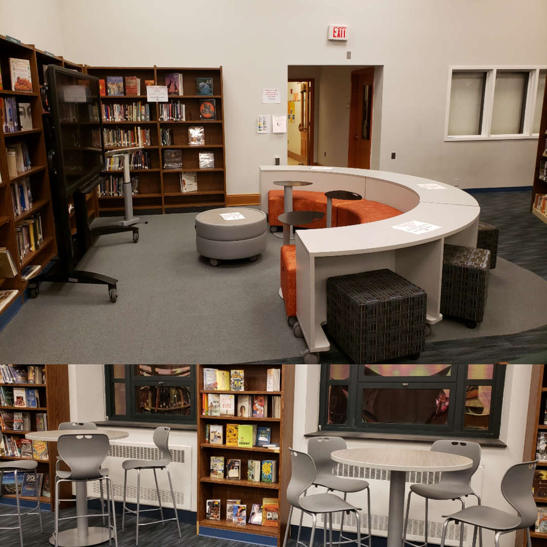 tables and chairs in library
