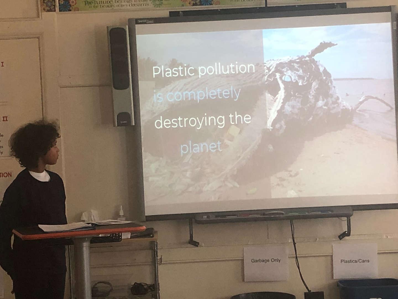 student making a presentation