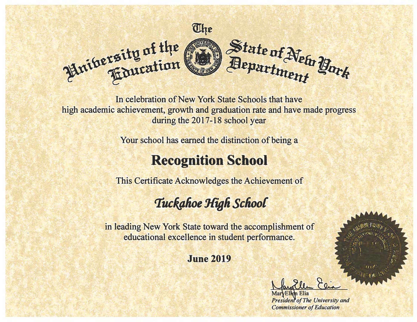 certificate from NYSED to THS