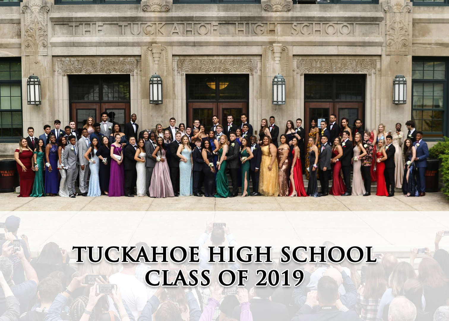 THS Seniors and their guests pose for the 2019 Prom in front of The Tuckahoe High School