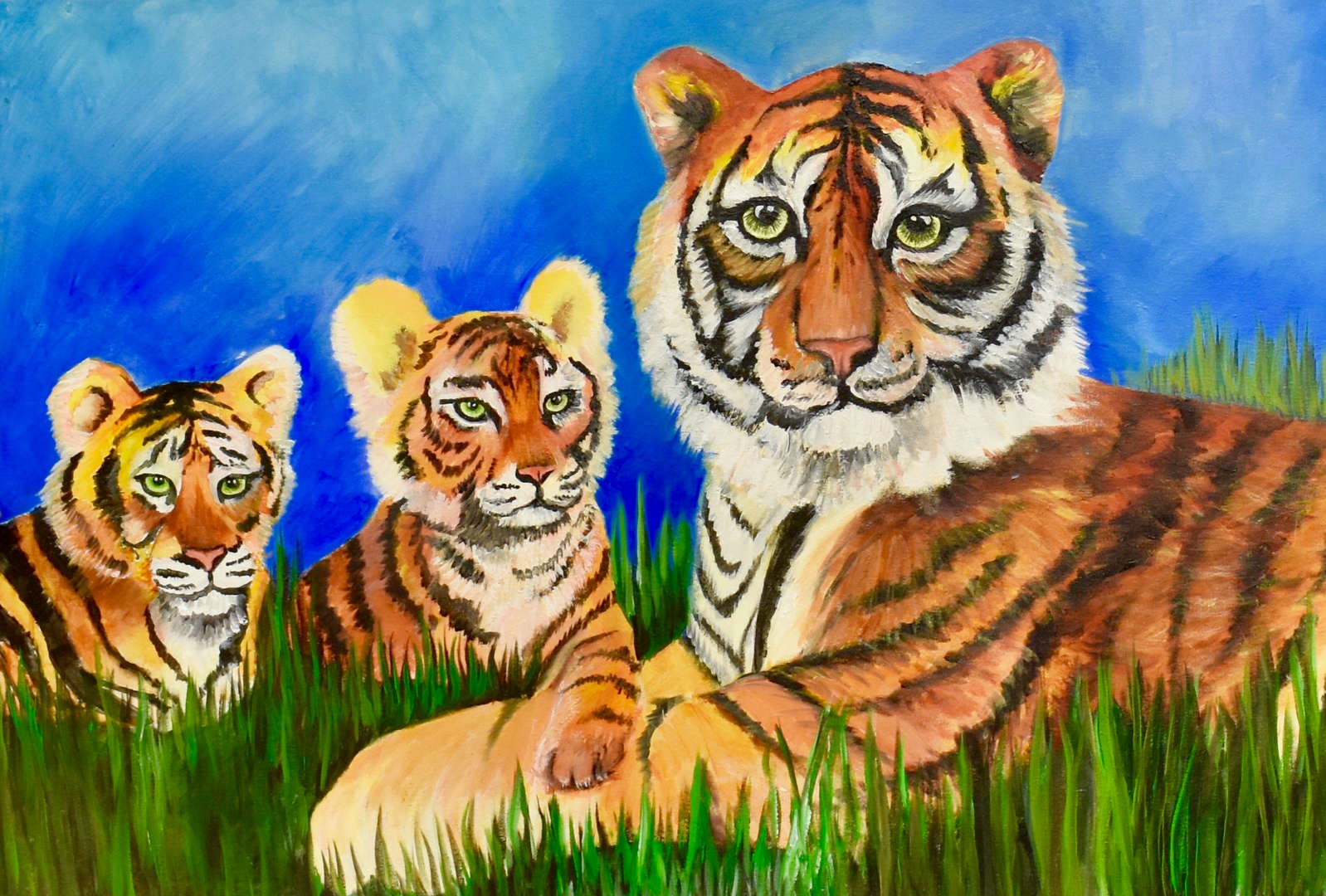 painting of 3 tigers