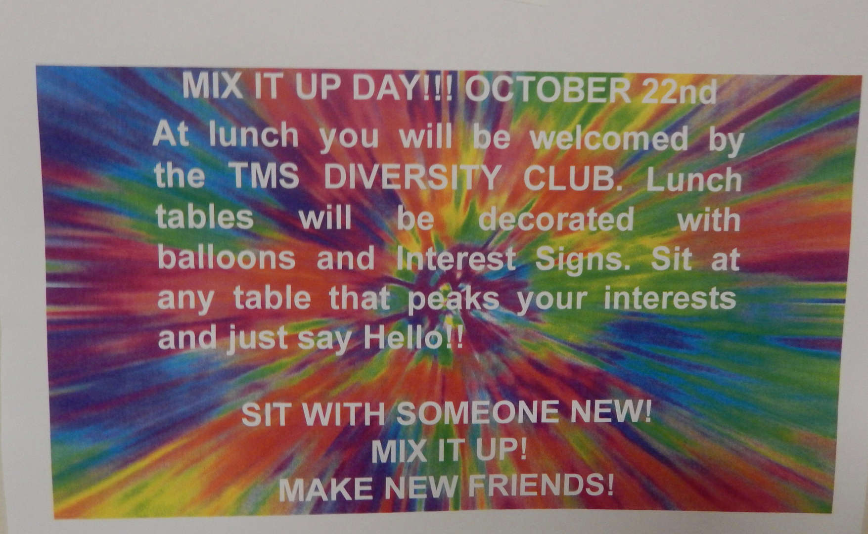 Mix It Up day sign