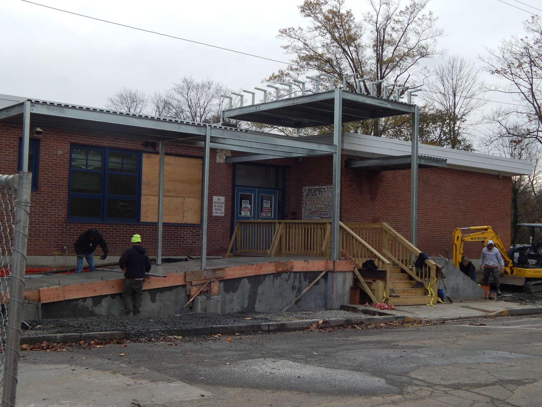 William E. Cottle School exterior new vestibule construction