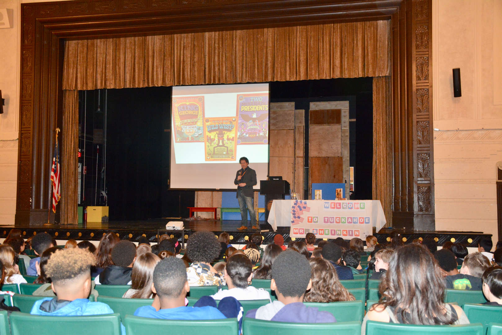 Author Steve Sheinkin speaks to TMS students.