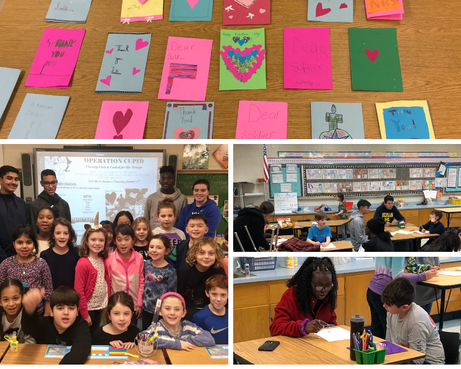 3 photos of high school and elementary students working together. 1 photo of valentine's cards.