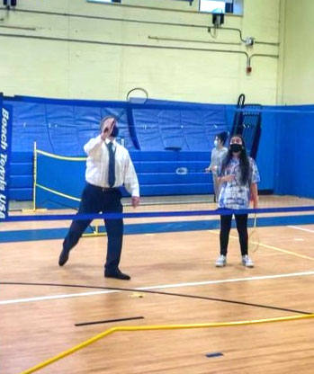 Our 8th graders were very excited to play Badminton with their Principal!