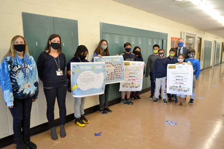 students stand up against bullying.