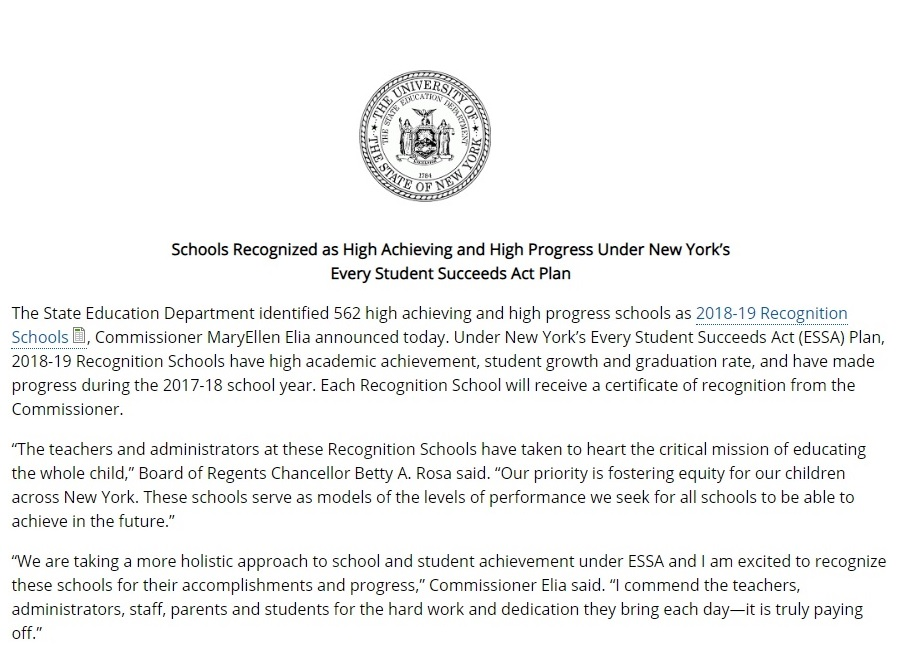 Nanuet Senior High School has been recognized as a Recognition School.  Recognition Schools have high academic achievement, student growth and graduation rate, and have made progress during the 2017-18 school year. Each Recognition School will receive a certificate of recognition from the Commissioner.