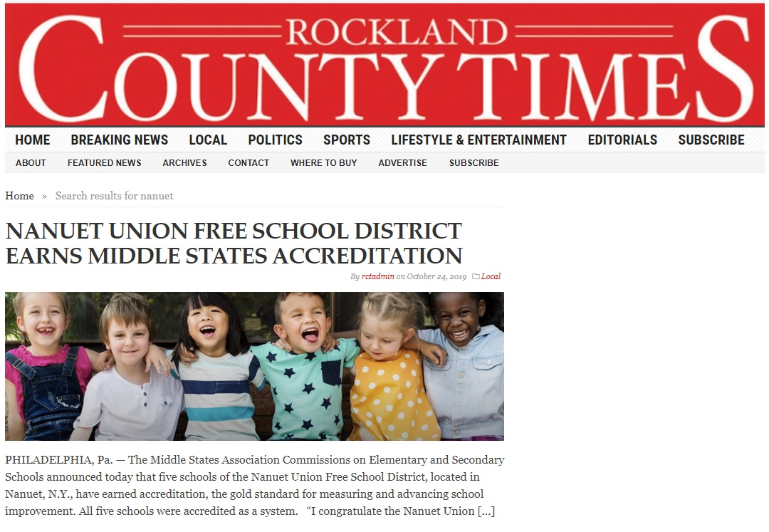Nanuet School District Receives Middle States Accreditation.