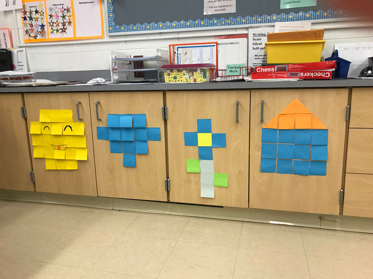 Math shapes on a classroom cabinet